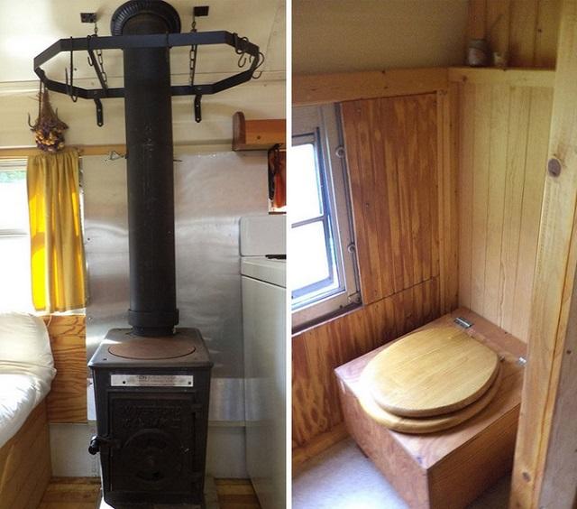 yellow bus mobile home bathroom