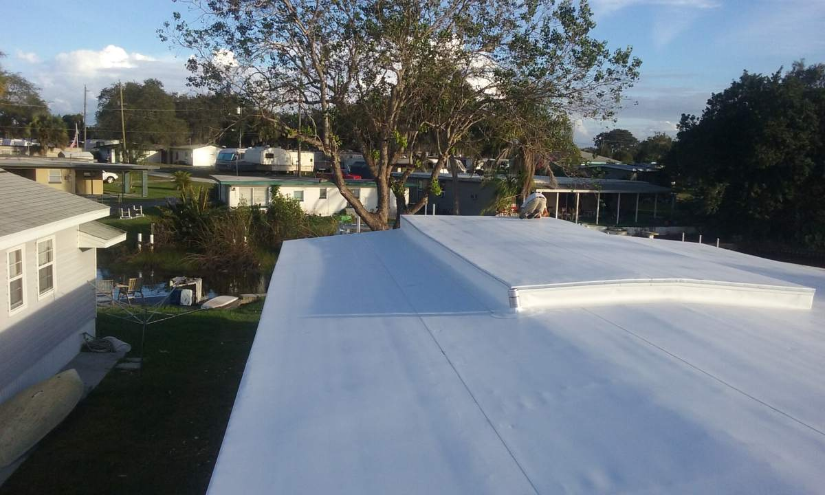 Photo of a roof after the mobile home roof over is completed