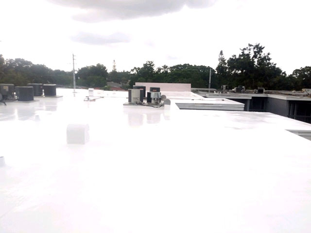 Silicone commercial roofing coating job